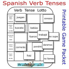 Printable Spanish FREEBIE of the Day:  Verb Tense Lotto game packet from PrintableSpanish.com