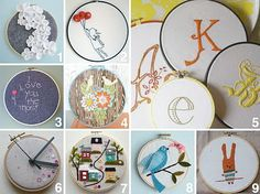 Some other ideas for my embroidery hoops --- more than just fun fabrics!