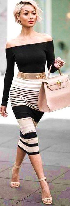 Black Top + Stripe Pencil Skirt