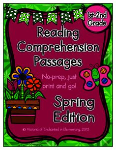 Reading Comprehension Passages- Spring Edition! Enter for your chance to win 1 of 2. Reading Comprehension Passages- Spring Edition (17 pages) from Enchanted in Elementary on TeachersNotebook.com (Ends on on 3-22-2015) Enter for a chance to win my Spring reading comprehension passages set, which was recently picked as a featured product in the teacher's notebook newsletter! 2nd Grade Reading Comprehension, First Grade Reading, Reading Strategies, Teacher Tools, Teacher Resources, Teacher Games, Reading Tutoring, Teaching Reading, Thing 1