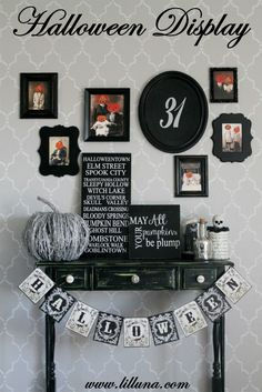 Halloween Tablescape and Gallery Wall - LOVE it! #halloween decor