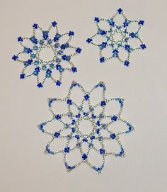 Ornaments Silvery Seed Bead Snowflakes Set of by AStitchinTime72