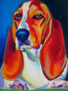 Colorful Pet Portrait Basset Hound Dog Art Print by Alicia VanNoy Call Painting Frames, Painting Prints, Art Prints, Basset Hound Dog, Pet Home, Dog Art, Pet Portraits, 5 D, Wrapped Canvas
