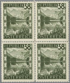 Austria 2nd. Republic, Michel 756 b - 38 Gr. steingrün, completly unhinged mint block of four. Michel 4400.- Katalog-no. 756 b appraisal 400.- till 500.-  Lot condition **   Dealer Rapp Auctions  Auction Starting Price: 400.00 SFr