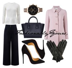 Whether you're going to a conference or working over time for the weekend, brighten up your outfit with sparkly, shiny #sequins!  A white #sequin peplum over wide leg pants is flattering in all the right places.  Strong black heels peak out perfectly under a wide leg.  Over your power outfit, throw on a dainty pink coat and classy leather gloves.