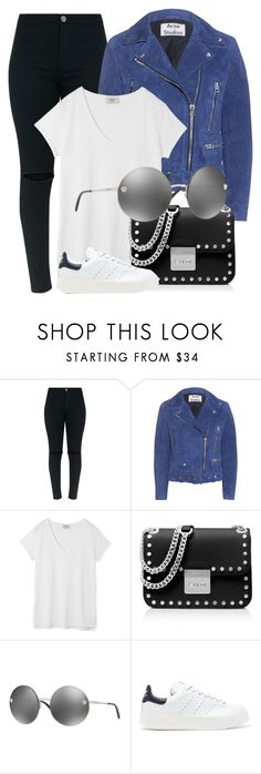 """""""Saturday"""" by smartbuyglasses-uk ❤ liked on Polyvore featuring Acne Studios, Hush, MICHAEL Michael Kors, Versace, adidas Originals, black, Blue and versace"""