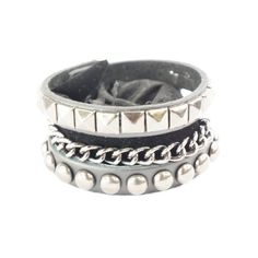 Punk Gothic 3 Layer Stud Chain Faux Black Leather Wide Bracelet... ($3.86) ❤ liked on Polyvore featuring jewelry, bracelets, accessories, bracelets / bangles / cuffs, hinged bangle bracelet, cuff bracelet, leather cuff bracelet, wide cuff bracelet and bangle bracelet