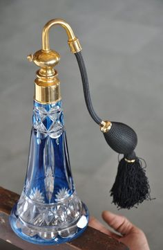 Rare Vintage Big Art Deco Fine Heavy Cut Blue Victorian Glass Perfume Bottle