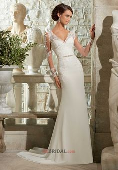 Engrossing V-Neck Long Sleeves Sheath Chiffon with Appliques &Crystals Empire Sweep Train Wedding Dress