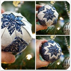 Create a beautiful ornament that looks like it's quilted - but it's not! This easy no sew quilted ball ornament is fun for any season, not just Christmas. Folded Fabric Ornaments, Quilted Christmas Ornaments, Diy Christmas Ornaments, Holiday Crafts, Christmas Things, Christmas Holiday, Holiday Ideas, Christmas Ideas, Christmas Decorations