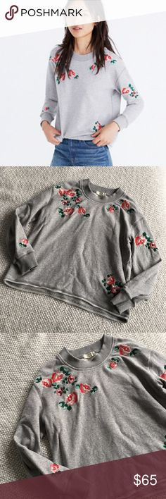 """Madewell Embroidered Cutoff Sweatshirt EUC.  Only worn a few times.  Inspired by the Japanese concept of """"one-mile wear,"""" Mile(s) by Madewell is a collection for all the stuff you do close to home—the post-workout hangs, the neighborhood coffee strolls, the couch marathons. Made of soft fabrics in sleek shapes, it's your new weekend-starts-now uniform. This pullover sweatshirt has cute floral embroidery, a raw cutoff hem and a slightly cropped fit to with high-waisted anything. Madewell Tops…"""