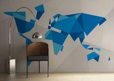 Geometric world map on wall
