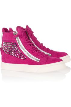 Giuseppe Zanotti | Crystal-embellished suede sneakers | NET-A-PORTER.COM