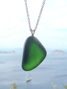 Genuine Emerald Green Sea Glass Necklace, Sterling Silver Chain by TradeWindsSeaGlass on Etsy