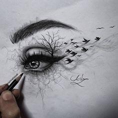 Pencil Art Drawings, Cool Art Drawings, Art Drawings Sketches, Colorful Drawings, Cool Drawing Designs, Sketches Of Eyes, Eye Pencil Drawing, Drawing Pictures, Amazing Drawings