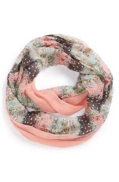 Coral perfection. Love the mix of flowers and polka dots on this infinity scarf.