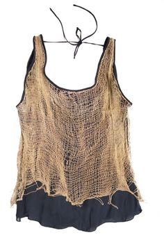 Cecilia de Bucourt Gold with Black Georgette backless top with hand knitted chains