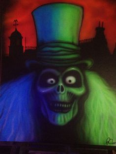 Hitch hiking ghost airbrush painting on 16x20 canvas panal