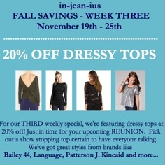 Boston's North End boutique, in-jean-ius, is having a great sale on tops