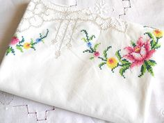 cross stitch tablecloth embroidered tablecloth vintage off