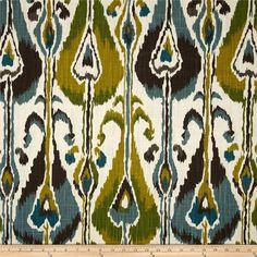 Tissu d'ameublement moderne ikat par Yard, imprimé en sérigraphie sur toile de canard 2 voies flammé (slub tissu a un aspect lin), ce tissu de coton de poids moyen polyvalent est parfait pour des accents de fenêtre (rideaux, cantonnières, rideaux et festons), accent oreillers, housses,