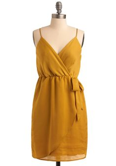 Simple and Sumptuous Dress - Yellow, Solid, Bows, Party, Casual, Empire, Wrap, Spaghetti Straps, Spring, Summer, Mid-length