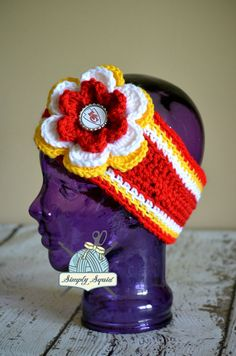 READY 2 SHIP - Teen Adult Kansas City Chiefs Inspired Flower Earwarmer  Headband with Bottlecap Logo Center - Football 87828ceade07