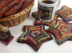Rug Hooking PATTERN Star Mug Rugs J857 by DesignsInWool on Etsy