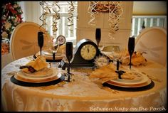 """New Year's Tablescapes Table Settings; love the napkin """"ring"""" mask or bow tie"""
