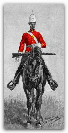 Frederic Remington painting/illustration of a Canadian Mountie of the NWMP in red serge dated I Am Canadian, Canadian History, Meanwhile In Canada, Frederic Remington, Fur Trade, West Art, Police Dogs, Before Us, Western Outfits