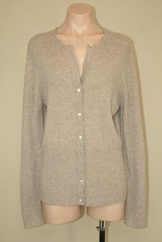 Bloomingdale's Soft Cashmere Beige Oatmeal Button Front Sweater Cardigan sz L #Bloomingdales #Cardigan