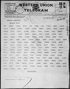 Zimmermann telegram Zimmerman coded message Germany Mexico World War 1 I ww1 wwI United States cipher translation: Photostat of the Zimmermann Telegram as received by the German ambassador to Mexico (Jan. 19, 1917)