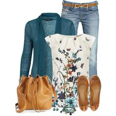 Love the colors on the shirt and cardigan.  The print on the shirt is fun without being crazy