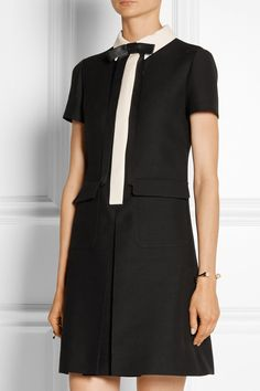 Valentino|Leather-trimmed wool and silk-blend crepe mini dress|NET-A-PORTER.COM