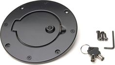 Rampage Products Billet Style Locking Gas Cover in Black | Jeep Parts and Accessories | Quadratec