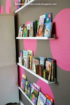 Ikea Picture Frame Ledges The Girls' Room Progress – Toddler Bookshelf Wall « becauseiliketodecorate… polka dots Ikea Picture Frame, Picture Ledge, Wall Bookshelves, Book Shelves, Bedroom Bookshelf, Bookshelf Ideas, Ikea Shelves, White Shelves, Shelving
