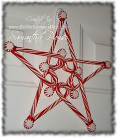 Candy Cane Star Christmas Decoration - no tutorial, but crafter says it was hot glued together. Maybe make with mini candy canes too for an ornament? I wonder if you use a hair dryer if you could melt the ends so they'd stick together? Noel Christmas, All Things Christmas, Winter Christmas, Christmas Wreaths, Christmas Ornaments, Christmas Decorations, Christmas Candy, Office Christmas, Simple Christmas