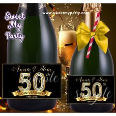 50th 60th 40th 30th Anniversary Champagne labels, Anniversary Champagne Bottle labels, (1)