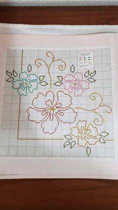 Cross Stitch Borders, Cross Stitch Flowers, Cross Stitch Designs, Cross Stitching, Cross Stitch Patterns, Crochet Bedspread, Crochet Tablecloth, Bargello, Crochet Flowers