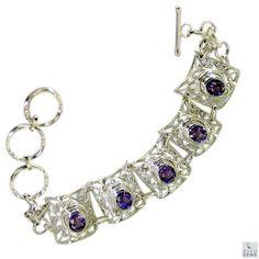 Riyo ametista gioielli celebrità braccio d'argento del braccialetto l 7.5in sbraame-2028