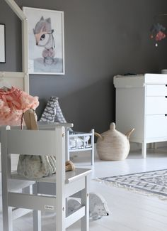 Wall painted in Alcro Lunar Grey - By blogger Starwoman Kids Decor, Home Decor, Grey Paint, Baby Room Decor, Kid Spaces, Baby Gifts, Kids Room, Toddler Bed, Nursery