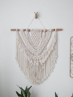 Shop modern bohemian macrame decor at Larks and Leo on Etsy! Bring some modern bohemian vibes into your home by adding a gorgeous macrame plant hanger! Click image to shop now! Bohemian Wall Decor, Hippie Home Decor, Cute Home Decor, Handmade Home Decor, Bohemian Nursery, Large Macrame Wall Hanging, Macrame Plant Hangers, Tapestry Wall Hanging, Wall Hangings