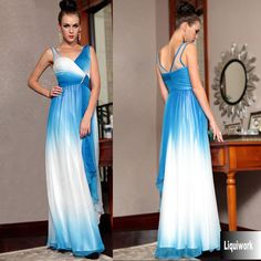 Beautiful Blue White Chiffon V Neck Long Evening Ball Gown Pageant Dress SKU-122728