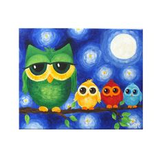 Whimsical Owl Art, COLORFUL OWL FAMILY No. 2, 8x10 original acrylic painting, art for kids on Etsy, $55.00