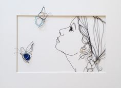 'Light Blues' Sculptural drawing in metal wire and fabric by Christina James Nielsen http://sculpturaldrawing.blogspot.dk