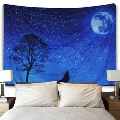 Moon and Stars Tapestry Wall Hanging Wolf Tapestry Moon Tapestry Starry Sky Tapestry Galaxy Night Sky Full of Stars Wall Tapestry Forest Starry Mandala Tapestry Popular Tapestry Psychedelic Wall Art Space Tapestry, Bohemian Wall Tapestry, Moon Tapestry, Tapestry Nature, Tapestry Bedroom, Mandala Tapestry, Tapestry Wall Hanging, Bedroom Wall, Wall Tapestries
