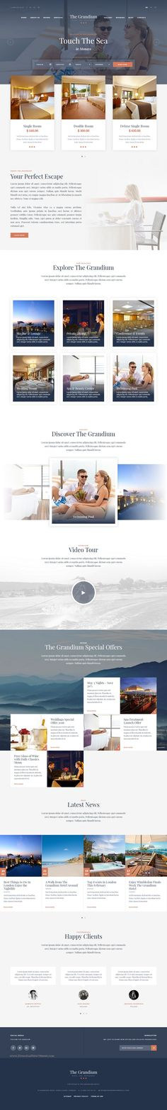 The modern design and strong typography makes Grandium the perfect Bootstrap HTML template for any #hotel #website.