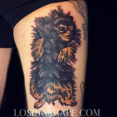 Tattooed Courtney's Pomeranian on the back of her thigh today. Thanks a bunch!! Such a fun one to do!! (at Three Kings Tattoo)