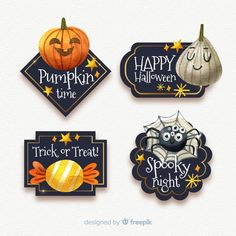 Descarga gratis vectores de Colección de etiquetas de halloween en acuarela Halloween Drawings, Halloween Clipart, Halloween Boo, Halloween Pumpkins, Halloween Decorations, Happy Pumpkin, Adornos Halloween, Halloween Scrapbook, Pen And Watercolor