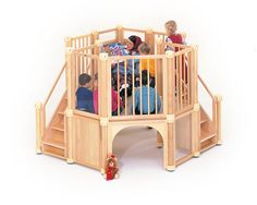 The Corner Kit is the perfect Loft for childcare centers with low ceilings. For ages Preschool Furniture, Kids Furniture, Early Years Classroom, Natural Toys, Storage Sets, Preschool Classroom, Kindergarten, Childproofing, Environmental Design